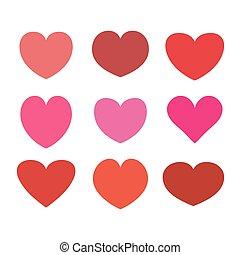 fehér, ikon, szív, elszigetelt, állhatatos, vektor