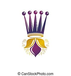 fehér, illustration., fejtető, címertani, tervezés, logo., mód, logotype, element., vektor, ősi, háttér., királyi, elszigetelt, retro