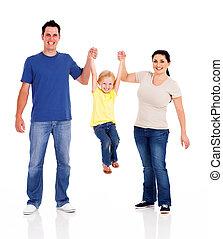 fehér, játék, család, boldog