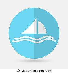 fehér, jacht, háttér, ikon