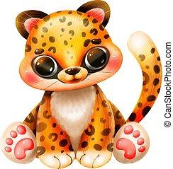 fehér, jaguár, karikatúra, csinos, háttér