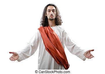 fehér, jesus christ, personifacation, elszigetelt