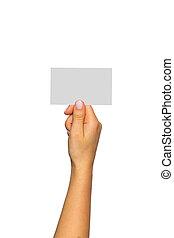 fehér, kártya, háttér, kéz