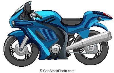 fehér, kék, bicikli, elszigetelt, versenyzés, háttér, vagy, motor