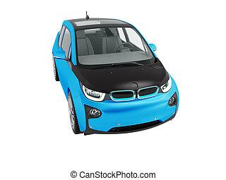 fehér, kék, black háttér, modern, render, elektromos autó, elszigetelt, nem, beáradások, árnyék, 3