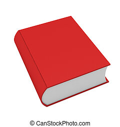 fehér, könyv, piros, render, 3
