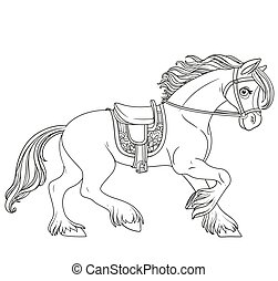 fehér, körvonalazott, elszigetelt, csinos, hám, előmozdít, harnessed, karikatúra, fut, háttér, ló
