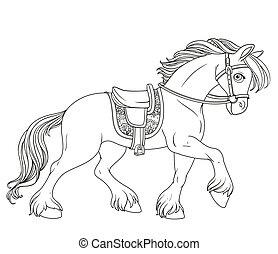 fehér, körvonalazott, elszigetelt, hám, előmozdít, harnessed, karikatúra, fut, háttér, ló