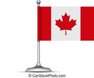 fehér, kanadai, vektor, lobogó, álló, háttér.