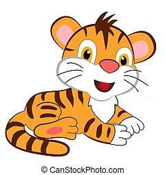 fehér, karikatúra, csinos, háttér., tigris cub