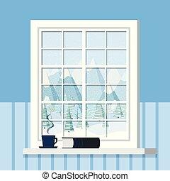 fehér, karikatúra, keret, lakás, style., ablakpárkány, ablak, szoba, csésze, könyv