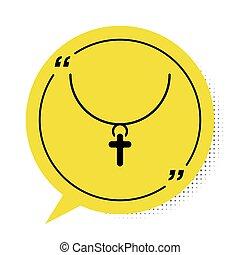 fehér, keresztény, ábra, háttér., jelkép., sárga, buborék, ikon, vektor, templom, fekete, elszigetelt, beszéd, lánc, kereszt, cross.