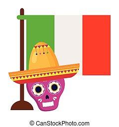 fehér, koponya, lobogó, rózsaszínű, mexican kalap, háttér