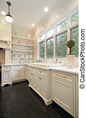 fehér, kortárs, cabinetry, konyha