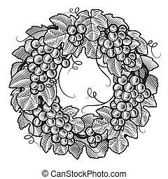 fehér, koszorú, fekete, retro, szőlő