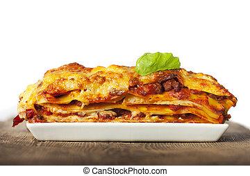 fehér, lasagna, tányér