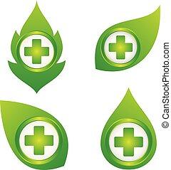 fehér, levél növényen, jelkép, állhatatos, orvosi, háttér, egészség, kereszt