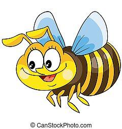 fehér, méh, háttér, karikatúra, betű, csinos, elszigetelt, vektor, ábra, cél