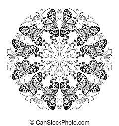 fehér, mandala, példa, black körbejár, díszítés, öröm, göndör, pillangók, háttér, természet, gyógyulás, lelki, monochrom