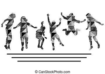 fehér, motívum, gyerekek, jumping.eps, fekete, körvonal, geometrikus