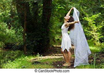 fehér, nő, gyönyörű
