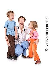 fehér, nő, gyerekek, elszigetelt, orvos