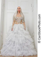 fehér, nő, ruha, fényűzés