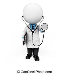 fehér, orvos, 3, emberek