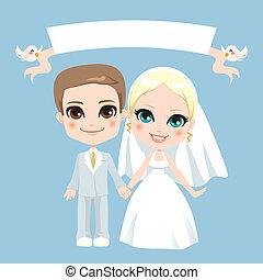 fehér, párosít, esküvő