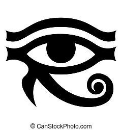 fehér, pattern., monochrom, háttér, ősi, illustration., szem, jelkép, vektor, horus.