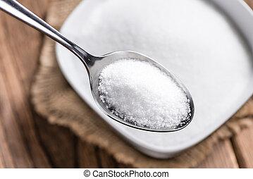 fehér, porció, cukor