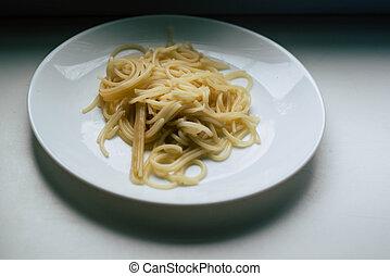 fehér, porció, spagetti, tányér