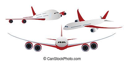 fehér, repülőgépek, elszigetelt
