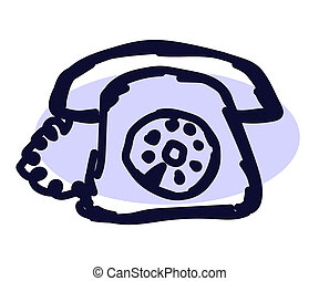 fehér, retro, telefon, háttér., sketch.