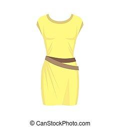 fehér, sárga, háttér., ruha, elszigetelt, nők, öltözék, mód