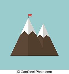 fehér, siker, hegy, elszigetelt, háttér., ábra, lobogó, vektor, ikon
