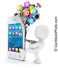 fehér, smartphone, 3, indít, emberek