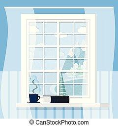 fehér, style., csésze, műanyag, keret, ablak, ablakpárkány, lakás, szoba, karikatúra, könyv