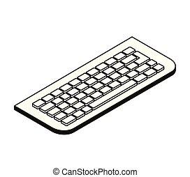 fehér, számítógép, árnykép, háttér, billentyűzet