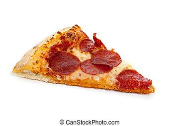 fehér, szelet, pepperoni pizza