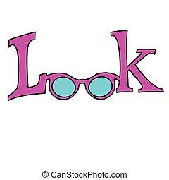 fehér, szemüveg, néz, háttér, elszigetelt
