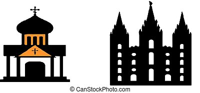 fehér, templom, háttér, ikon