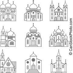 fehér, templom, lineáris, háttér, ikonok