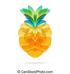 fehér, tervezés, ananász