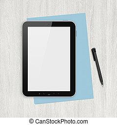 fehér, tiszta, digital tabletta, íróasztal