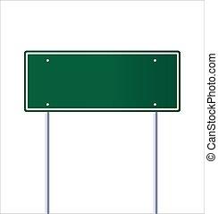 fehér, tiszta, zöld, közlekedési jelzőtábla, út