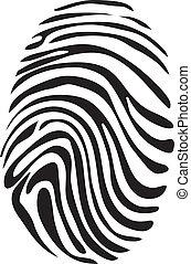 fehér, vektor, fekete, ujjlenyomat