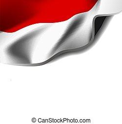 fehér, vektor, háttér, lobogó, indonesia., hullámzás, ábra