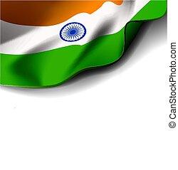 fehér, vektor, háttér, lobogó lenget, ábra, india