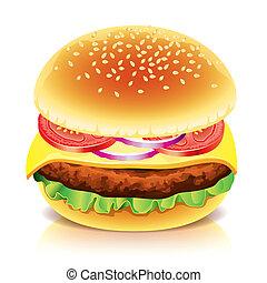 fehér, vektor, hamburger, elszigetelt, ábra